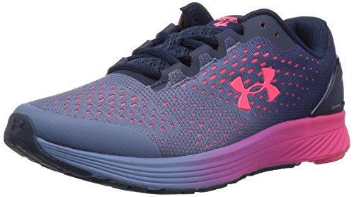 Under Armour Girls' Grade School Charged Bandit 4 Sneaker, Academy (400)/Penta Pink, 3.5