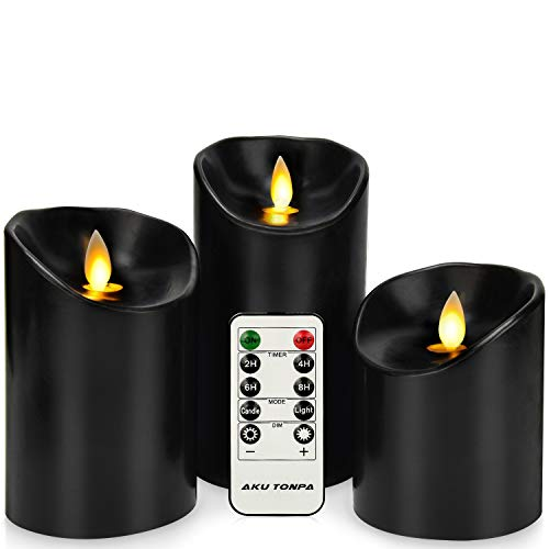 Aku Tonpa Flameless Candles Battery Operated Pillar Real Wax Flickering Moving Wick Electric LED Candle Gift Set with Remote Control Cycling 24 Hours Timer, Pack of 3 (D:3.25 X H:4 5 6)