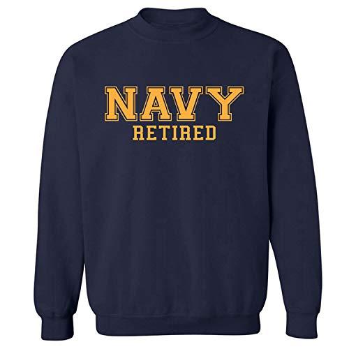 (Navy Retired Gold Logo Military Style PT Crewneck Sweatshirt in Navy - Medium)