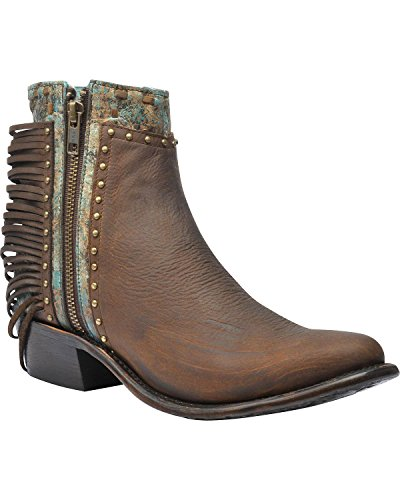 Corral Mujeres Zipper And Studs Tobillo Bota Round Toe - A3231 Honey