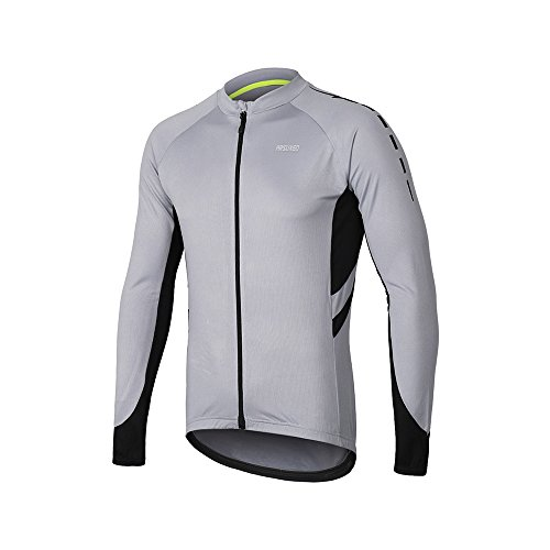 ARSUXEO Men's Full Zipper Long Sleeves Cycling Jersey Bicycle MTB Bike Shirt 6030 Light Gray Size S - Gray Mens Bike Jersey