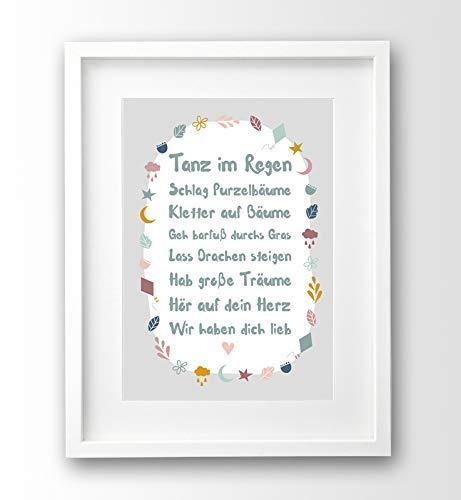 Sprüche Poster A4 ungerahmt, Geschenk Geburt, Taufe, Deko ...