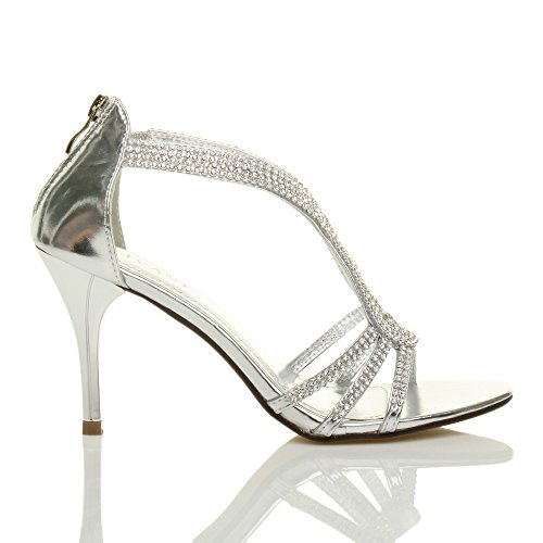 Ajvani - Sandalias de vestir para mujer plata