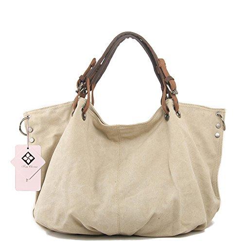 - Tom Clovers Unisex Classy Look Canvas Oversized Vintage Hobo Simple Style Top Handle Genuine Leather Tote Handbag Shoulder Weekender Crossbody Bag Begie Large