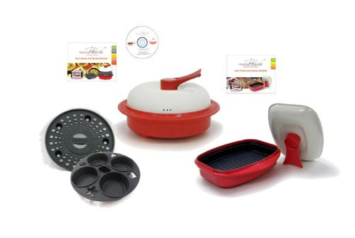Microhearth Cookware Set (Everyday Pan Combo & Grill Pan) for Microwave Oven, Red by Microhearth