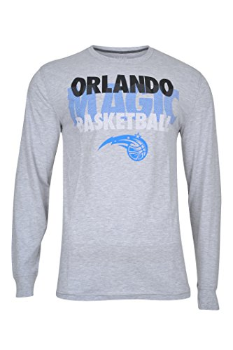 fan products of NBA Men's Orlando Magic T-Shirt Supreme Long Sleeve Pullover Tee Shirt, Medium, Gray