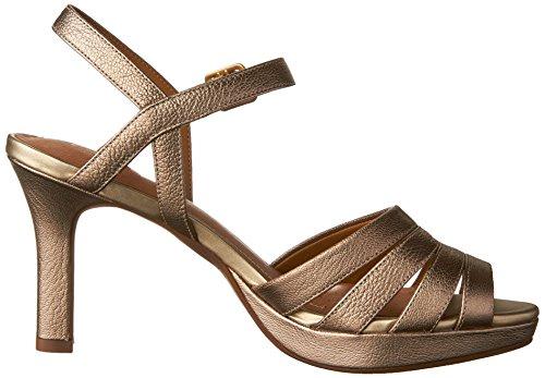 Clarks Donna Mayra Pelle Di Papavero Open Toe Casual Cinturino Alla Caviglia Sandali In Pelle Color Oro Metallizzato