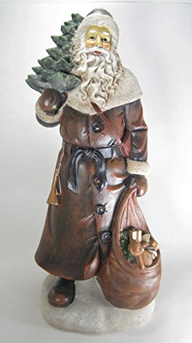 20'' Tall Antique Style Old World Christmas Santa Claus figurine in Brown Coat Holding a Christmas Tree and Toy Sack Tabletop Decor by K&K Interiors