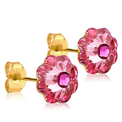 10mm Stud Earrings for Women & Girls| Swarovski Flower Crystals, 14K Gold Plated| Made With Hypoallergenic, Surgical Stainless Steel| Jewelry Gifts by Clecceli (Pink/Pink)