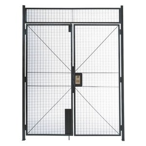 WireCrafters DHD6712 840 Specs Double Hinged Door Woven Wire Partition, Gray