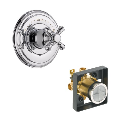 (Delta Delta KVODCA-T14097-H795-CH Cassidy Valve Only Kit Pressure-Balance Single-Function Cartridge with Metal Cross Handle, Chrome Chrome )