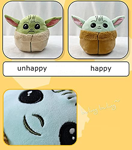 Baby Yoda Reversible Plushie Toys - 6.8 Inch Sided Flip Show Your Mood at All Times(Blue to Green)