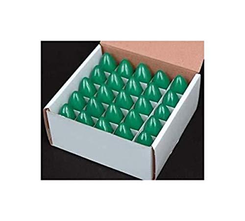 Box of 25 Light Bulbs -C7, Steady Burning - Ceramic Green - 7 Watt - Candelabra Base -Great for Night Lights, and Christmas Strings