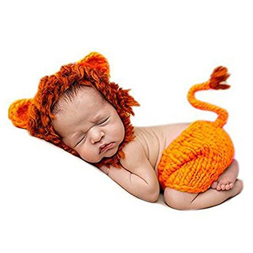 Infant Newborn Baby Cute Cartoon Lion King Outfit Knit Handmade Halloween Crochet Beanie Hat Clothes Photography Props Costume -