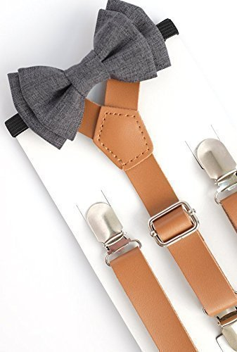 SUSPENDER & BOW TIE Set. Sweetnswag Dark Grey Chambrey Bow tie with Light Brown Leather Suspenders. Infant - Adult. Photography prop, Weddings.