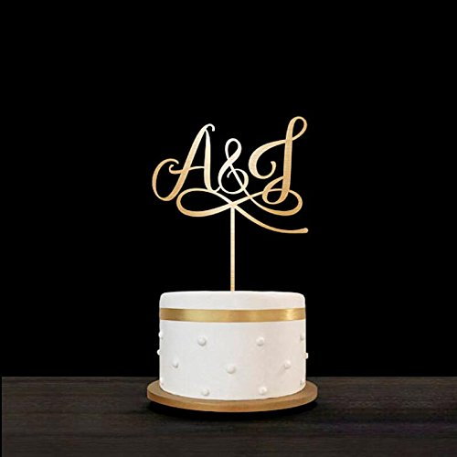 Cake Topper - personalized acrylic wood wedding personalized rustic arrow cake topper last name initials cake topper