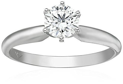 IGI Certified 14k White Gold Lab Diamond Solitaire Engagement Ring (34 ct G-H Color VS1-VS2 Clarity) Size 7