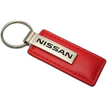 NISSAN Genuine Brown Leather Rectangular Silver Nismo Logo Key Chain Fob Ring