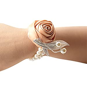Jackcsale Fashion Wedding Bridesmaid Wrist Flower Corsage Party Hand Flower Decor with Faux Pearl Bead Wristband Champagne Pack of 2 33