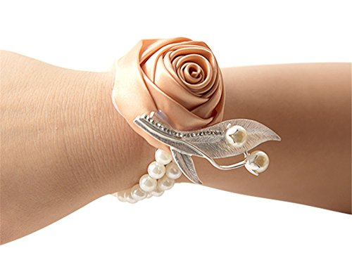 Jackcsale Fashion Wedding Bridesmaid Wrist Flower Corsage Party Hand Flower Decor with Faux Pearl Bead Wristband Champagne Pack of 4