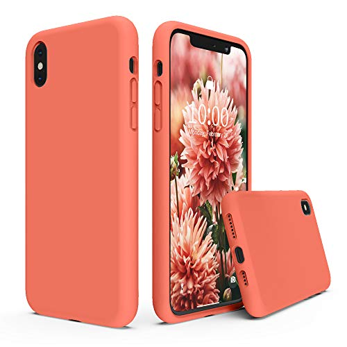 SURPHY Silicone Case for iPhone Xs Max Case, Soft Liquid Silicone Shockproof Phone Case (with Microfiber Lining) Compatible with iPhone Xs Max (2018) 6.5 inches (Nectarine)