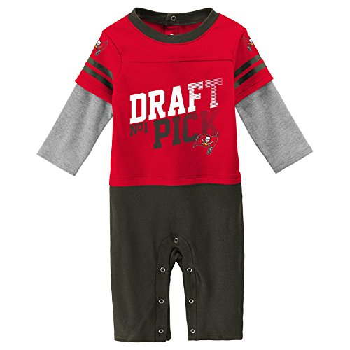 Outerstuff NFL Tampa Bay Buccaneers Newborn & Infant Draft Pick Long Sleeve Coverall Red, 18 Months