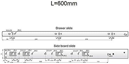 45/mm de altura Ra/íles de caj/ón de rodamiento de bolas cierre lento Furnica