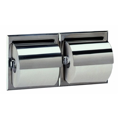 Bobrick 6997 Stainless Steel Recessed Dual Roll Toilet Tissue Dispenser with Hood, Satin Finish, 12-5/16'' Width x 6-1/8'' Height by Bobrick