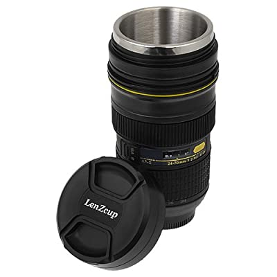 Fotodiox Thermo LenzCup - Stainless Steel Insulated Tumbler, Coffee, and Refreshment Mug - Nikon Nikkor AF-S 24-70mm f/42.8G ED (1:1) Replica, 10oz