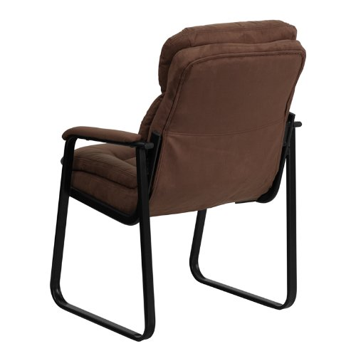 Flash Furniture Brown Microfiber Executive Side Reception Chair with Sled Base by Flash Furniture (Image #2)