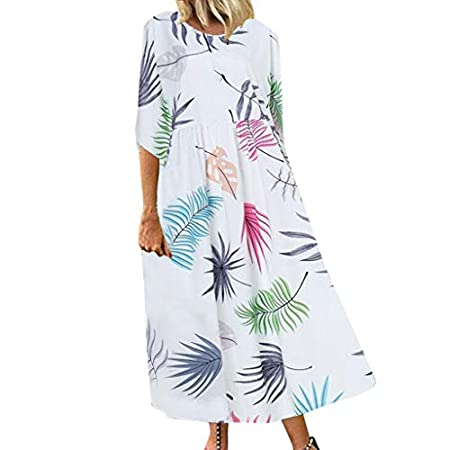 fasloyu Women Vintage Leaf Print Dress Sleeveless O-Neck Three-Sleeve Sleeve Maxi Dress White 41iOxbLTnDL