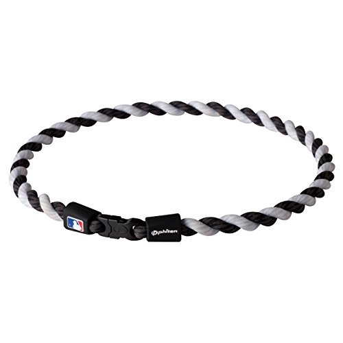Phiten MLB Tornado Necklace, Black/White, 22