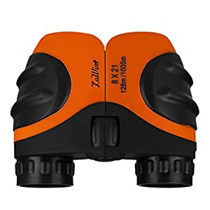 Luwint 8 X 21 Kids Binoculars for Bird Watching, Watching Wildlife or Scenery, Game, Mini Compact and Image Stabilized, Best Gifts for Children (Orange)