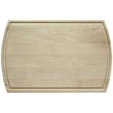High Quality Maple Wood Cutting Board - 16 inch x 10-1/2 inch Double-Sided Chopping Board with Juice Groove