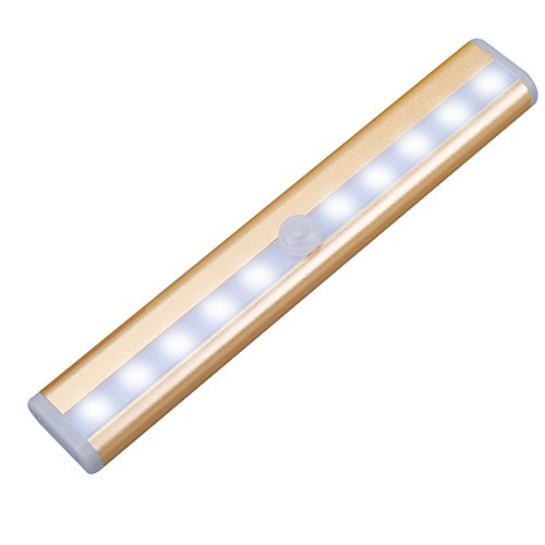 QPAU Stick-on Anywhere Portable Super Bright 10 LED Wireless Motion Sensing Closet Light Cabinet LED Night Light/Step Light/Stairs Light w 3M Magnetic Strip (Battery Operated)-Gold