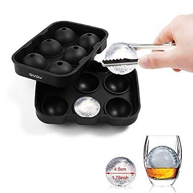 #1 Ice Ball Maker - GVDV Ice Ball Maker Mold - 6 Whiskey Ice Balls - Premium Black Flexible Silicone Round Spheres Ice Tray- Molds 4 X 4.5cm Round Ice Ball Spheres(Black)