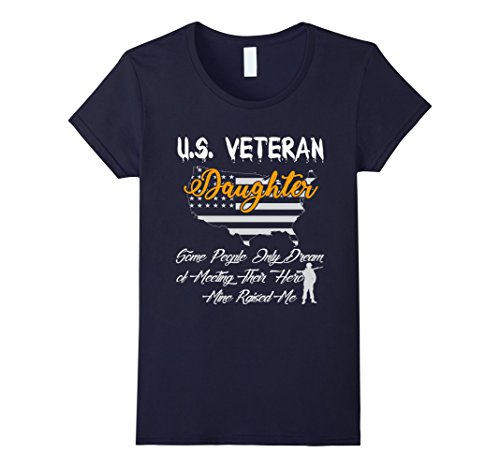 Women's U.S. Veteran Daughter Tshirt Gift For Veteran's Daughter Large Navy
