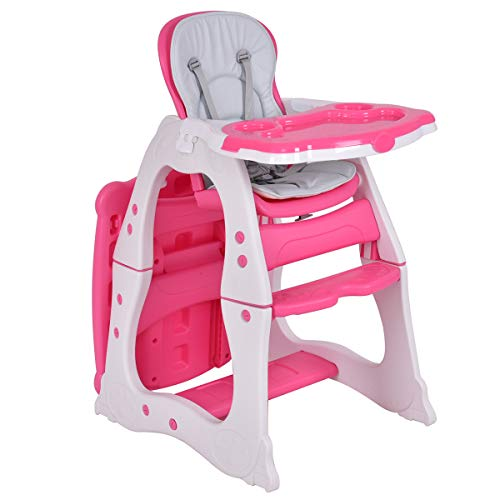 Costzon Baby High Chair, 3 in 1 Infant Table and Chair Set, Convertible Booster Seat with 3-Position Adjustable Feeding Tray, Adjustable Seat Back, 5-Point Harness (Pink) ()