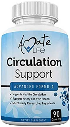 Blood Circulation Support Supplement for Arteries & Veins Health- Natural Cardiovascular Pills with L-Arginine, Ginger Root- Promotes Healthy Blood Flow & Heart Health- 90 Capsules by Amate Life