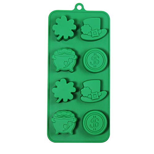 Happy St. Patrick's Day Leprechaun Hats Coins Shamrocks & Pots of Gold Molds 8 Cavity Silicone Mold Baking & Party Candy & Cake Making Molds