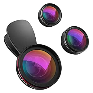 [Upgraded] Criacr Cell Phone Camera Lens Kit, 15X Macro Lens + 0.65X Wide Angle Lens + 198° Fisheye Lens, 3 in 1 Clip-on Camera Phone Lens for iPhone X / 7 / 7 Plus / 6 / 6S, Samsung, Most Smartphone