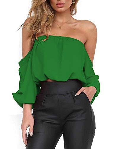 Women's Summer Long Sleeve Tube Blouse Chiffon Crop Top Short Blouses Shirts XL Green