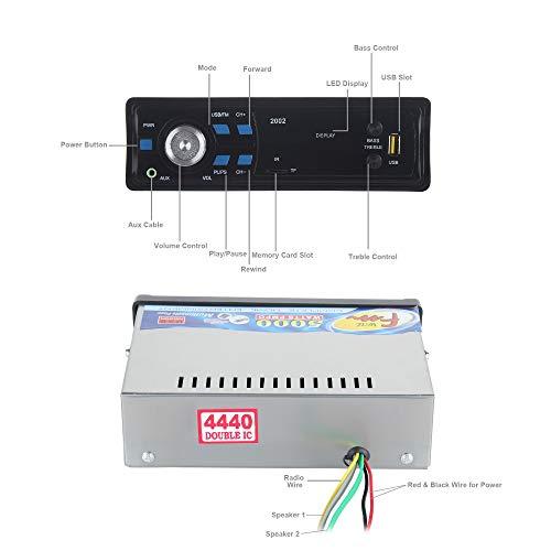 Gadget Deals 2002 Single Din USB Fm Aux Mmc with 3.5mm Aux Cable Car Stereo System Music Player (Black)