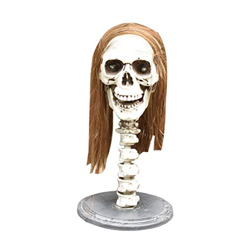 Skull Party Sparkle - Amosfun Halloween Props Long Hair Skeleton Sparkle Ornament Halloween Party Skull Decoration