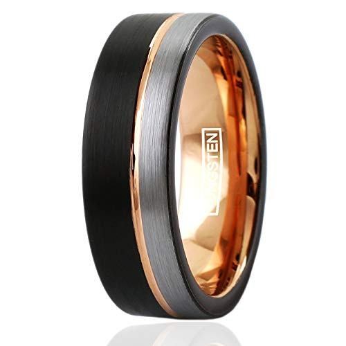 King's Cross Personalized Engraved 8mm Tungsten Carbide Flat Black & Silver Satin Finish Wedding Band w/Rose Gold Stripe & Silver Edge. (Tungsten (8mm), 10) ()