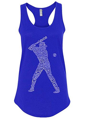 - Mixtbrand Women's Baseball Player Typography Racerback Tank Top L Royal