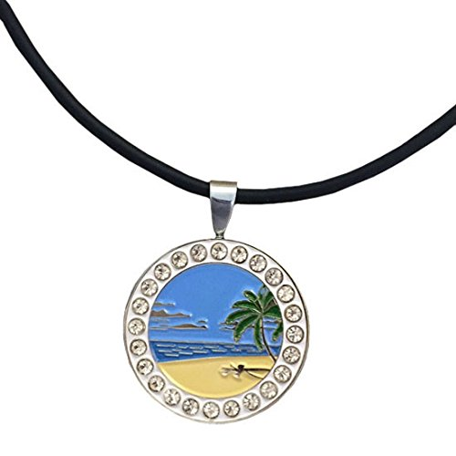 Giggle Golf Bling Beach Scene Magnetic Golf Ball Marker Necklace for Women (Necklace Ball Marker)