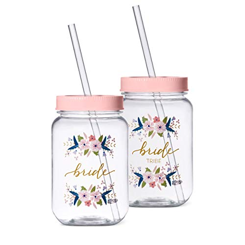 11 Piece Set of Bride Tribe and Bride Plastic Mason Jars Tumblers - Perfect for Bachelorette Parties, Weddings, and Bridal Showers (Pink) -