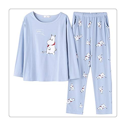 Spring Cartoon Pajamas Sets Women Home M-XXL Comfortable Nightshirt 2pcs/Set Cotton Girl Cute Bedroom Nightgown p2 L -