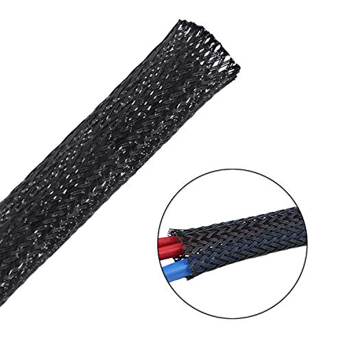 Besteek 50ft - 1/4 Inch Nylon Expandable Braided Cable Sleeving, Braided Wire Sleeve, Cable Sheath Mesh Wire Loom ()